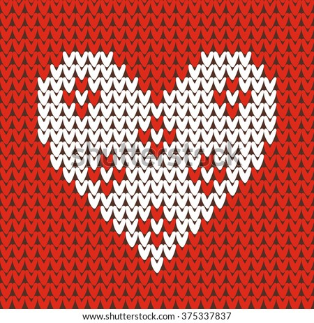 Seamless pattern on the theme of Valentine's Day with an image of the Norwegian patterns and hearts. Wool knitted texture. Illustration - stock photo