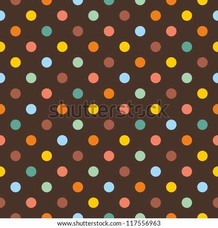 Seamless pattern or texture with colorful polka dots on dark brown background. For invitations, websites, wallpaper, desktop, baby shower card, background, party, web design, arts and scrapbooks. - stock photo