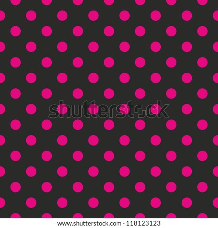 Seamless pattern or texture with neon pink polka dots on black background. For cards, invitations, websites, desktop, baby shower card background, party, web design, arts and scrapbooks. - stock photo