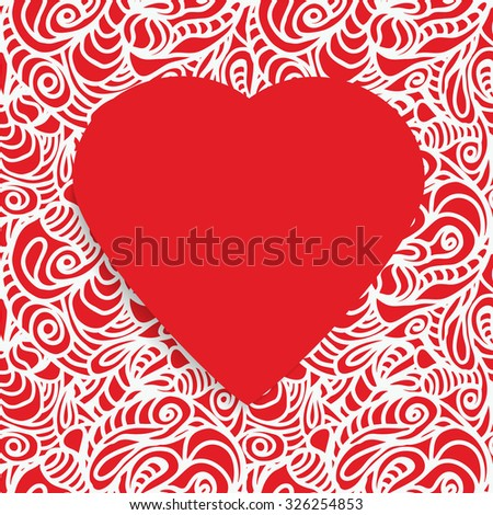 Seamless Pattern ornate with a Red Paper Heart Symbol in the middle. Happy Valentine's Day. - stock photo