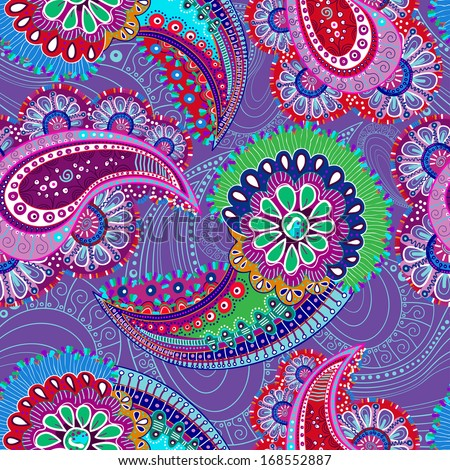 Seamless pattern Paisley for wallpapers, fabrics, wrapping paper, decorating - stock photo