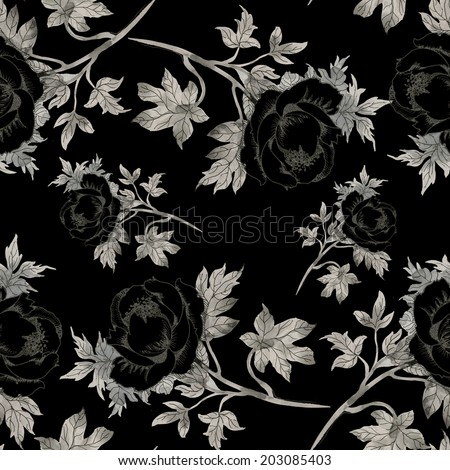 Seamless pattern pencil drawing roses on black background  - stock photo