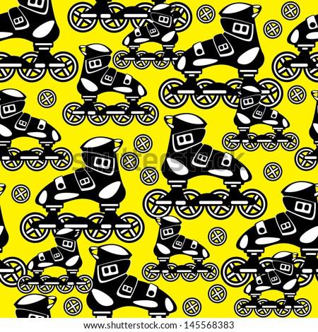 seamless pattern roller skate - stock photo