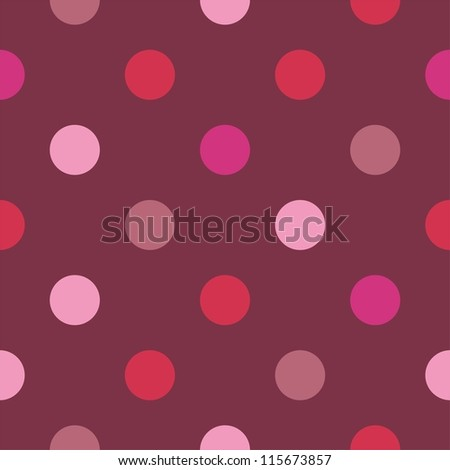 Seamless pattern, texture or background with colorful pink and hot red polka dots on dark background. For websites, valentines, wedding - stock photo