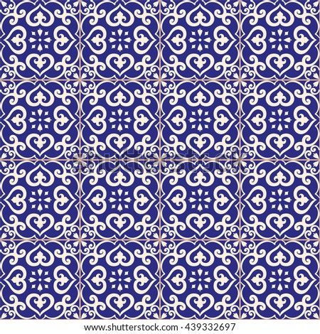 Seamless pattern. Traditional portuguese azulejos tile ornament. Dark blue and light gray colors. Raster copy. - stock photo