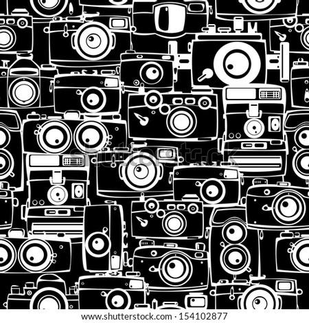 seamless pattern vintage film photo cameras - stock photo
