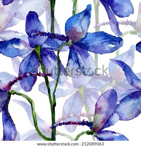 Seamless pattern. Watercolor floral background. Blue delphinium - stock photo