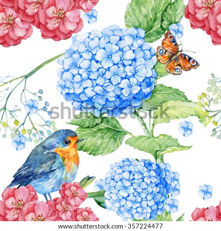 seamless pattern . watercolor flowers, little bird and butterfly.pattern for textiles and Wallpaper - stock photo