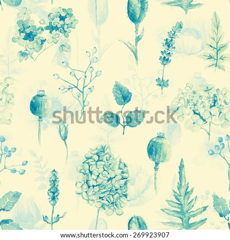 Seamless pattern. Watercolor hydrangea, currant. Illustration of flowers. Monochrome. Can be used for gift wrapping paper, birthday, mother's day. Gentle, cute background. - stock photo