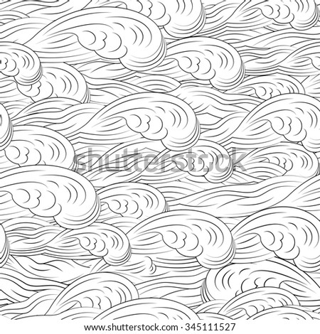 Seamless pattern wave background - stock photo