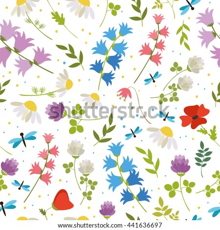 seamless pattern. wildflowers - bell, poppy, chamomile, clover. summer, spring greens. simple logo for a flower shop. on white background - stock photo