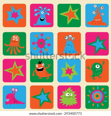 Seamless pattern with a colorful monsters and stars - stock photo