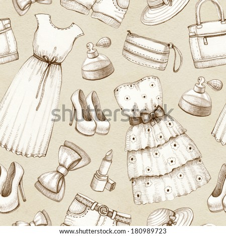 Seamless pattern with a drawings of dresses and accessories - stock photo