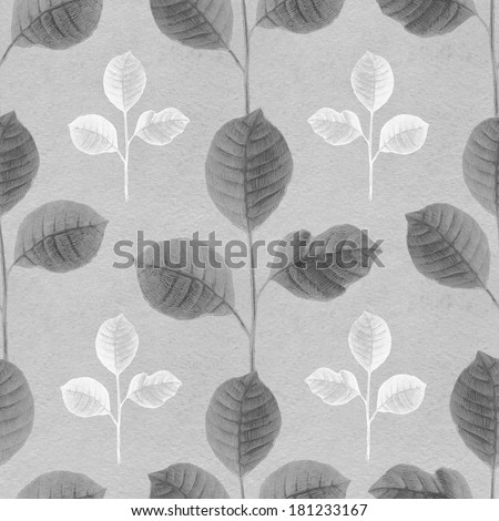 Seamless pattern with a leaves drawing - stock photo