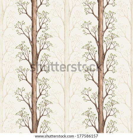 Seamless pattern with a watercolor tree illustration - stock photo