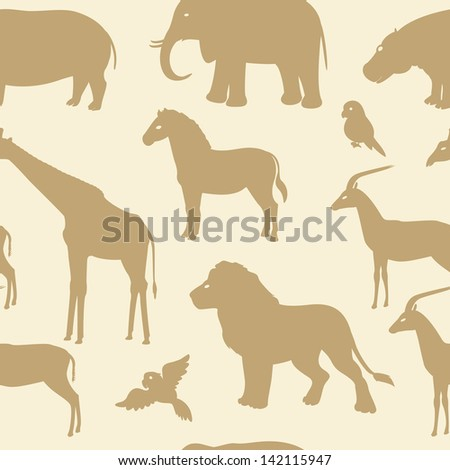 Seamless pattern with african animal silhouettes. Raster version. - stock photo