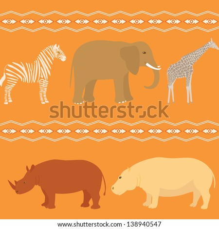 Seamless pattern with african animals and stripy ornament. Raster version. - stock photo