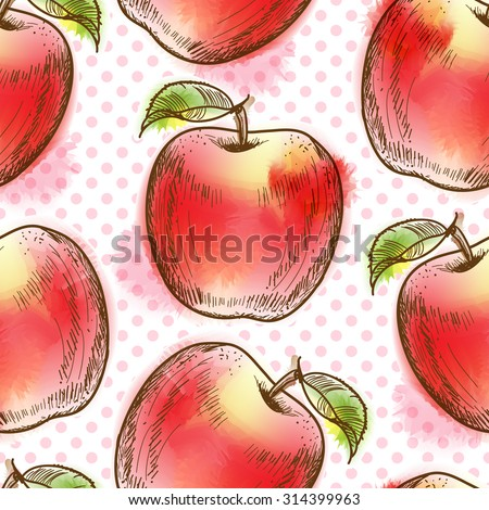 Seamless pattern with apple. Painted in watercolor style - stock photo
