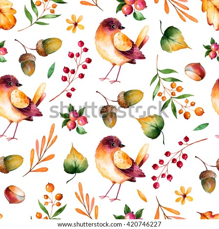 Seamless pattern with autumn leaves,flowers,branches,berries,acorns,chestnut and little bird.Colorful illustration.Watercolor handpainted texture on white background.Perfect for wallpaper,blogs,cover  - stock photo