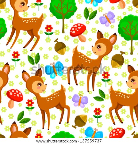 seamless pattern with baby deer (vector available in my gallery) - stock photo