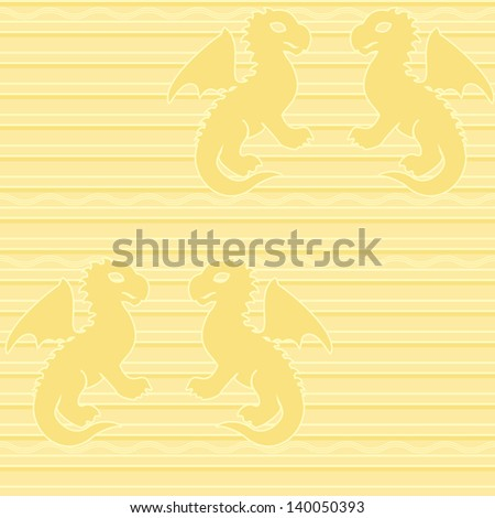 Seamless pattern with baby dragons on stripy background. Raster copy of 131538146. - stock photo