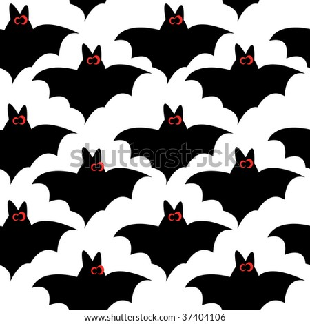 Seamless pattern with bats for halloween - stock photo