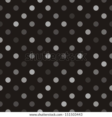 Seamless pattern with beige, brown and grey colorful polka dots on a black background. For website, web design, desktop wallpaper, blog background, arts and scrapbooks.  - stock photo