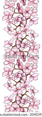 Seamless pattern with blossoming branch - stock photo