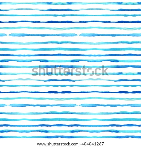 Seamless pattern with blue watercolor lines. Ink illustration. Hand drawn watercolor ornament for wrapping paper. Hand drawn colorful background. - stock photo