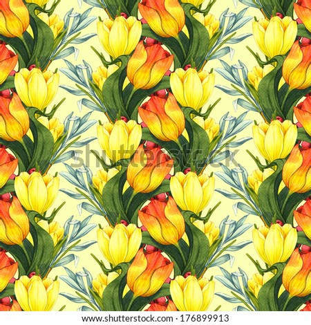 Seamless pattern with bouquets of spring flowers. Watercolor illustration.  - stock photo