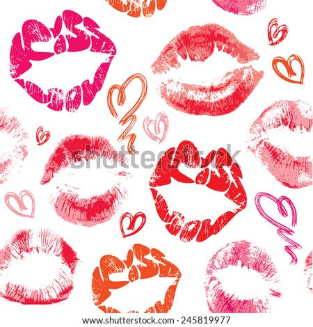 Seamless pattern with brush strokes and scribbles in heart shapes, lips prints and words KISS YOU - Valentines Day Background.  Raster version - stock photo