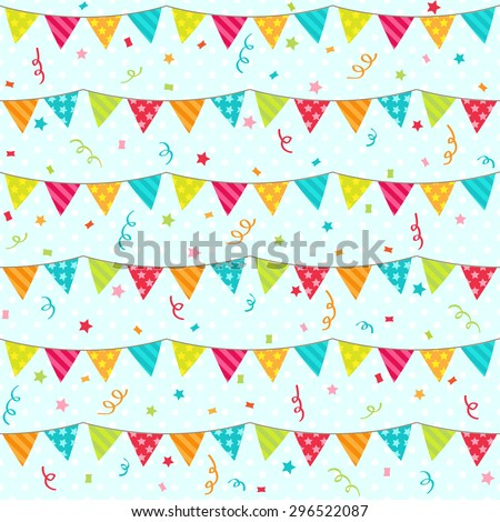 Seamless pattern with bunting. Raster version - stock photo
