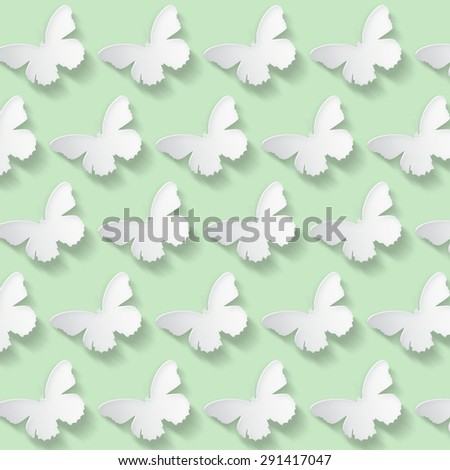 Seamless pattern with butterflies in green. - stock photo