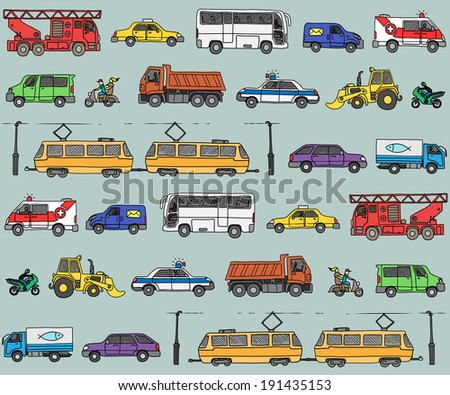 Seamless pattern with cars. Traffic. Doodle set.  - stock photo
