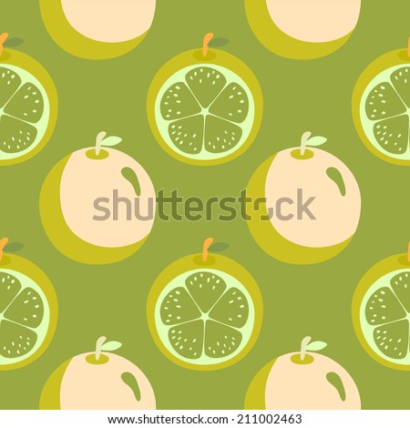 Seamless pattern with cartoon crazy oranges. Wallpaper. Endless texture background. Fabric design. Wallpaper - raster version - stock photo