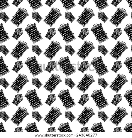 Seamless pattern with cartoon houses in black and white. Abstract urban hand drawn monochrome ornament. Repeating background texture. Cloth design. Wallpaper  - stock photo