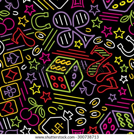 seamless pattern with casino icons in neon style - stock photo