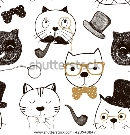 Seamless pattern with cats faces. Doodle funny cats background. Cute cats gentlemen - stock photo