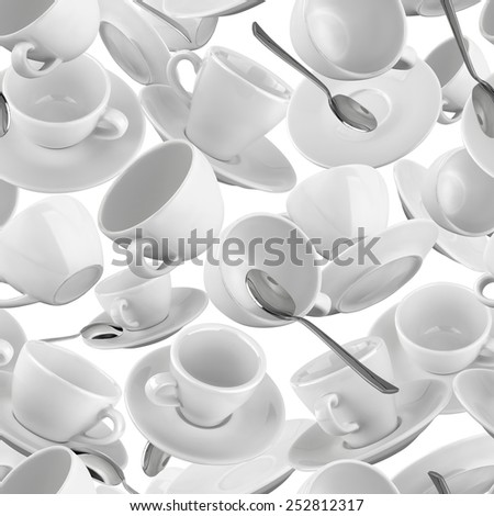 Seamless pattern with coffee cups. - stock photo