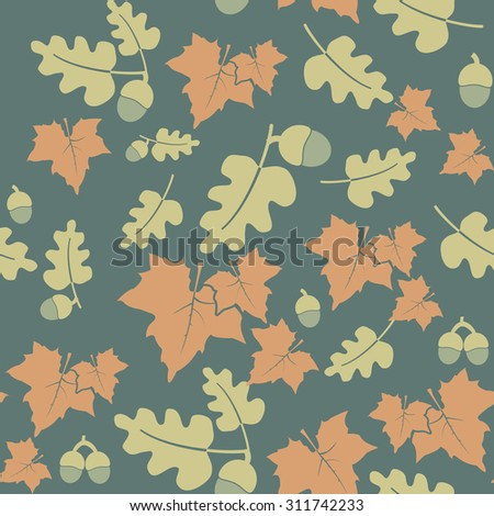 Seamless pattern with colorful autumn leaves and acorns. Rasterized version. - stock photo