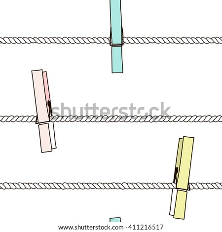 Seamless pattern with colorful clothespins on rope. Perfect background for fabric, packaging, textile or other surfaces. Perfect background for fabric, packaging, textile or other surfaces - stock photo
