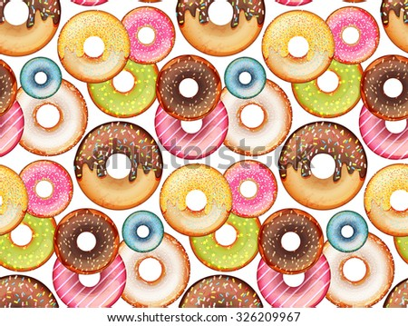 Seamless pattern with cute colorful donuts - stock photo
