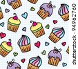 seamless pattern with cute cupcakes, hand drawn illustration - stock photo