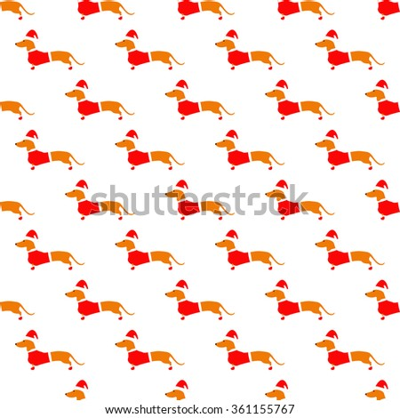 Seamless pattern with cute dachshund in Christmas suit situated in staggered rows on white background. Flat style illustration - stock photo