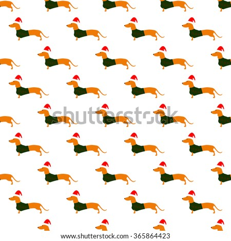 Seamless pattern with cute dachshund wearing Christmas suit, green jersey decorated with red stripes and red Christmas hat arranged in staggered rows isolated on white background - stock photo