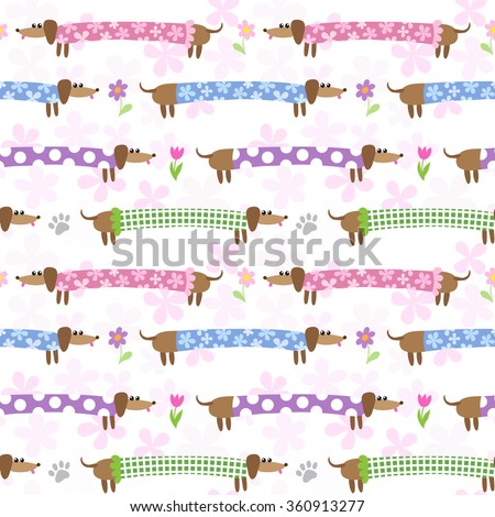 Seamless pattern with cute dachshunds in striped clothing - stock photo