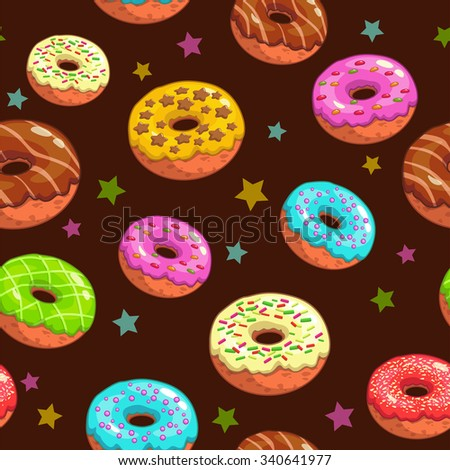 Seamless pattern with cute donuts and stars - stock photo
