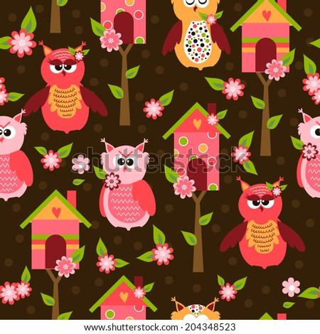 seamless pattern with cute owls and colorful houses for birds - stock photo