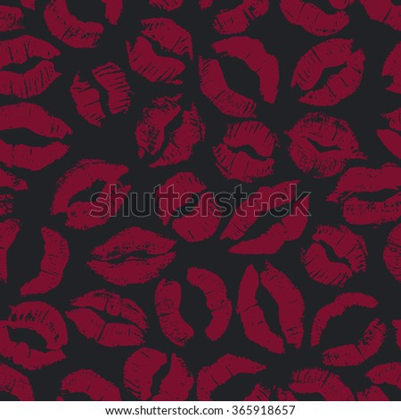 Seamless pattern with dark lipstick kisses. Different imprints of dark red lipstick isolated on a black background. Can be used for design of fabric print, wrapping paper or romantic greeting card - stock photo