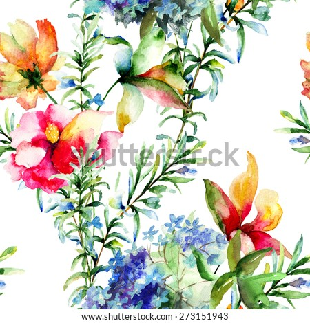 Seamless pattern with Decorative summer flowers, watercolor illustration  - stock photo